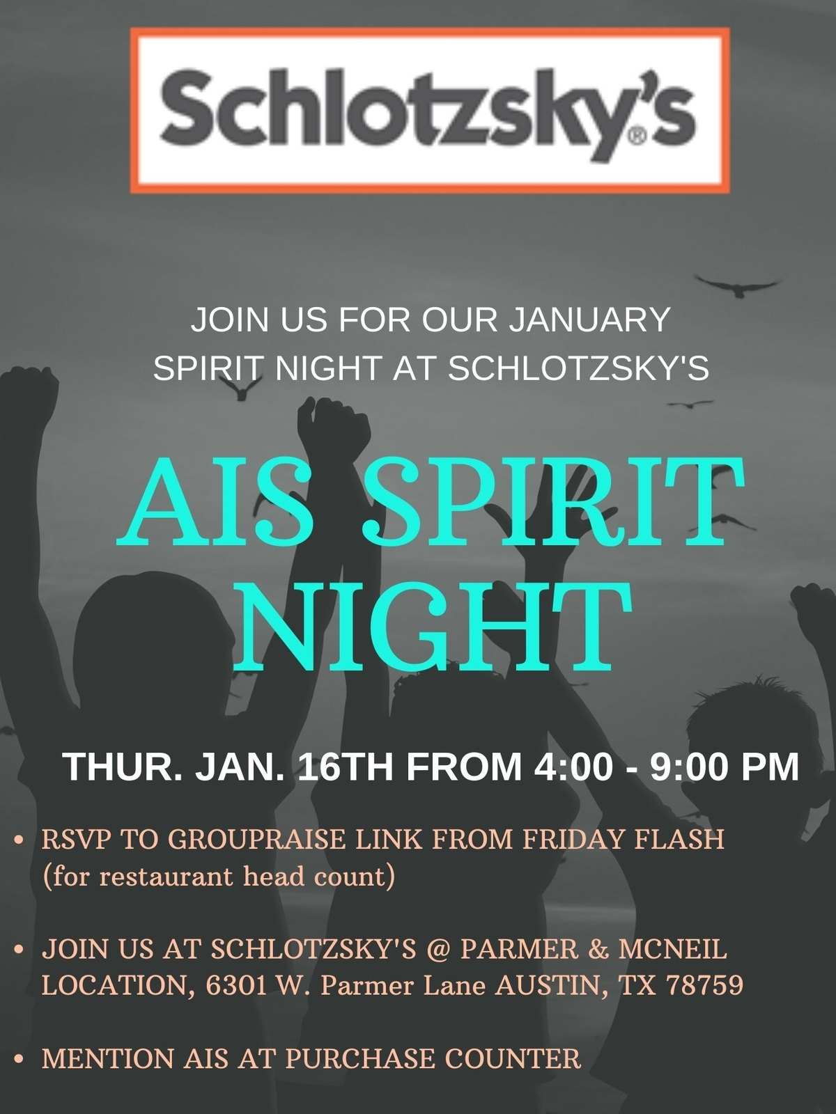 Spirit Night at Schlotzsky's- Parmer & McNeil