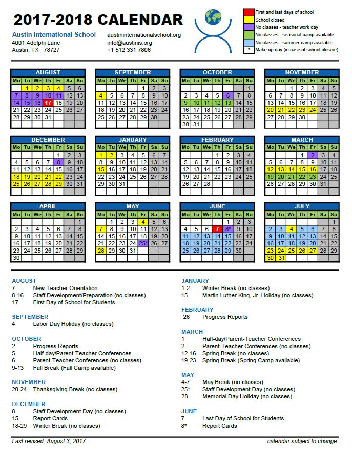 the 2017 2018 academic year will start on thursday august 17 2017 and end on thursday june 7 2018 a pdf copy of the calendar may be downloaded by