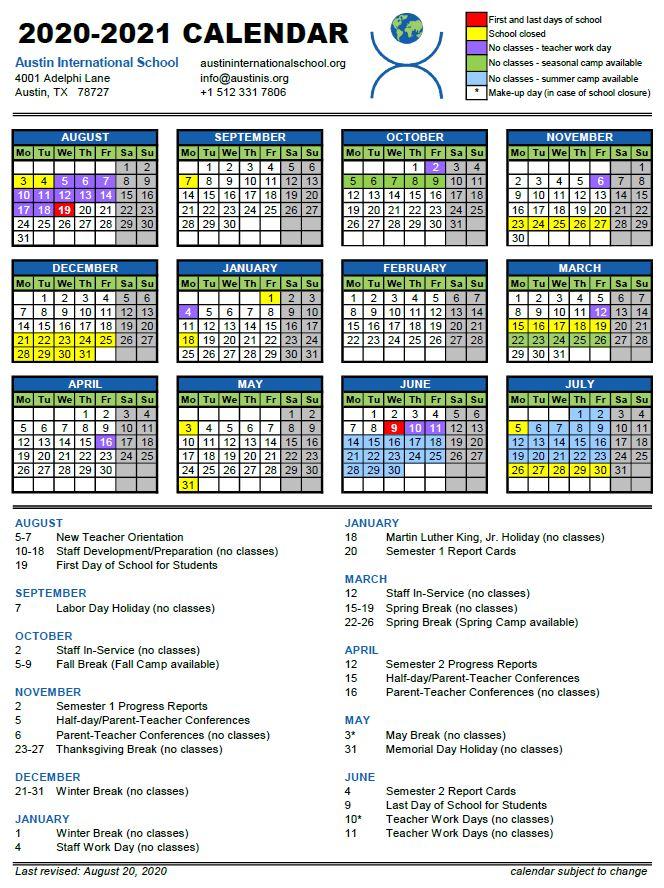 Ut Austin Calendar Fall 2022.2020 2021 Calendar Austin International School
